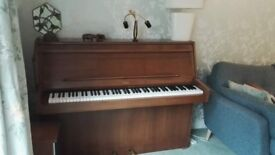 Lindner upright piano -REDUCED PRICE £95, offers considered, good working order, teak finish