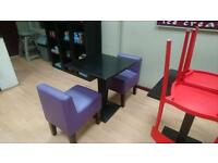 4x Funky Sturdy Purple Leather Chairs (Cafe/Club/Coffee/Afterschool)