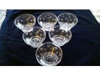 "STUART STARTIME PATTERN 4"" FRUIT / TRIFLE BOWLS - SIGNED x 6"