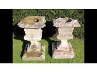 Stone garden planters, urns, columns