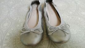 silver colour girls ballet pumps from Next Size 3.