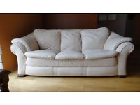 Luxury Cream leather suite.. Couch with two chairs. Very deep, large & comfortable