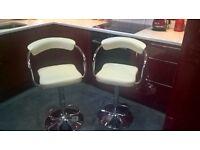 Pair Of Houston Upholstered Cream Gas Lift Bar Stools