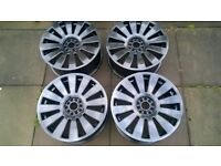 AUDI VW ALLOY WHEELS REFURBISHED 5X100 5X112 MULTI FIT WITH TYRES AND CAPS