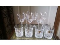 Cut glass decanter and assorted glasses
