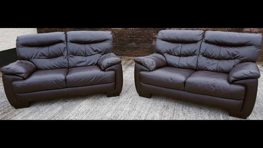 🍁 LUXURY DARK BROWN REIDS 2 & 2 FULL LEATHER SOFAS SUITE