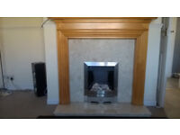 Gas fire including marble back and hearth.