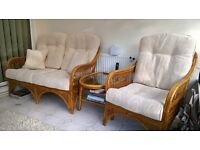 3 Piece Cane Conservatory Furniture with Coffee Table