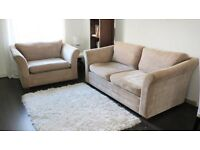 NEXT sofa (3 seater) and snuggle seat (1.5 seater) in Mink fabric