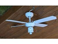 Ceiling fan For Sale - glass needed - buyer to collect