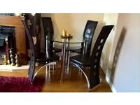 Glass Table with 4 Leather Chair
