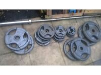 olympic barbell 7 ft and 121 kg weight plates-weights in total 141 kg