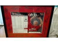 Framed afc bournemouth v Torquay signed program