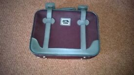 small suitcase maroon/grey length 14 inches width 18 inches depth 4inches very good condition