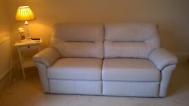 G Plan leather 3 seater sofa, chalk colour, excellent condition