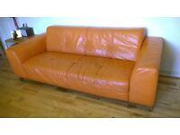 DFS tangerine orange leather sofa 3 seater