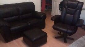 Can deliver 2 seater +footstool and swivel recliner chair in good condition