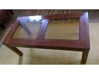 Coffee Table with two bevelled edged glass panels