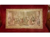Vintage Victorian Style Music Parlor Scene Framed Tapestry