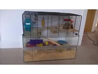 Large cage suitable for small rodents such as hamsters, gerbils or mice with accessories
