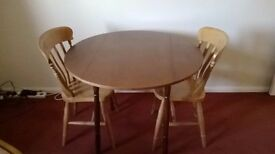 Medium Round Drop-Leaf Dining Table & Two Chairs