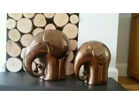 Bronze Ceramic Elephants
