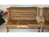 Vintage Retro Anitque 3 Piece Suite - 3 Seater Sofa & 2 Chairs - Brown
