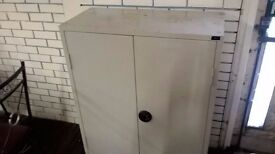 Large Metal Cabinet with wooden shelves