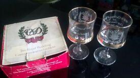 Royal wedding glass goblets.