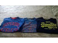 3 superdry tshirts size large