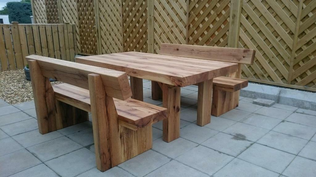 Oak Table And Bench Set Garden Furniture Set Railway Sleeper Bench Loughview