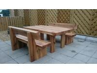 Oak table and bench set garden furniture set railway sleeper bench Loughview Joinery Ltd
