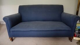 Antique sofa - upholstered in blue