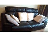 Dark chocolate brown 4 seater leather sofa
