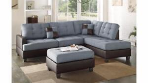 MEUBEL.CA   GREY MODERN SECTIONAL WITH OTTOMAN