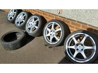 "Set of 5 TSW 17"" alloys 4x100 stud, for VW, VAUXHALL, HONDA, RENAULT, ROVER ETC..."