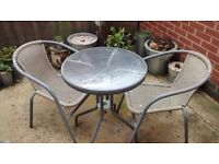 Garden table with two chairs