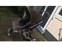 Black Britax B - smart 3 wheeler pushchair