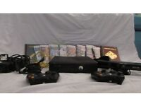 xbox 360 bundle, includes : controllers , games and kinect
