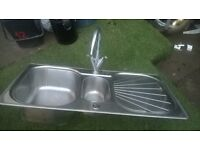 Stainless steel kitchen sink with mixer taps GOOD CONDITION