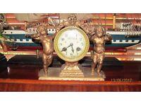 antique victorian gold french cherub clock .