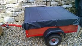 COMPACT SOLID TIDY CAR TRAILER 4' X 4; COVER AND ELECTRICS; IDEAL FOR CAMPING