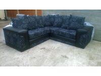 Corner sofa brand new & unused, leather & black/cream material, can deliver.