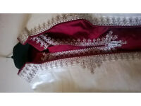 Indian sherwani grooms wear x3 2red and gold and one lilac and cream.one pair of size 9 shoes