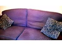 LARGE 3 SEATER SOFA in NAVY BLUE
