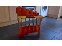 Reduced !!!!!! 5 Genuine Le Creuset Orange Pan Set Cast Iron Saucepans With Wooden Display Rack