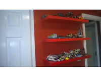 4 Red Floating Shelves with hidden brackets