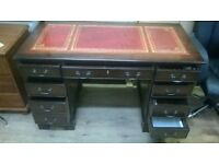 8 draw leather top desk reprodution