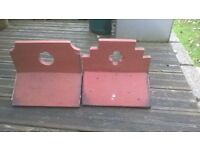 ridge tiles terracotta decorative victorian style 5 with circle pattern and 2 with cross