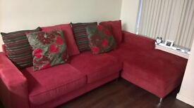 red corner sofa brought brand new 3 months ago selling due to moving abroad